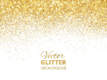 Vector Illustration Of Falling Glitter Confetti, Golden Dust. Fe