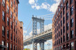 Manhattan Bridge seen from Dumbo, New York, USA.