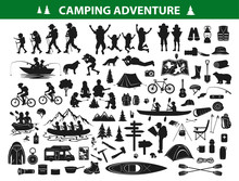 Camping Hiking Silhouette Collection Set. People Trekking, Navigating, Sitting At Campfire Tent, Kayaking, Rafting, Fishing, Mountain Biking. Campsite Gear Backpack, Sleeping Bag Map, Caravan,