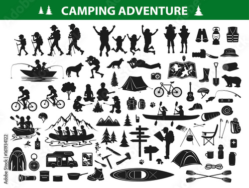 Foto camping hiking silhouette collection set