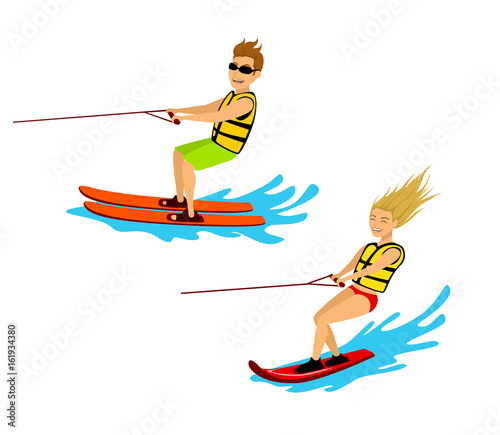 Fotografie, Obraz  man and woman riding waterski and wakeboard isolated cartoon vector illustration
