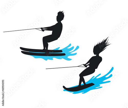 man and woman riding waterski and wakeboard silhouette isolated  vector illustra Tapéta, Fotótapéta