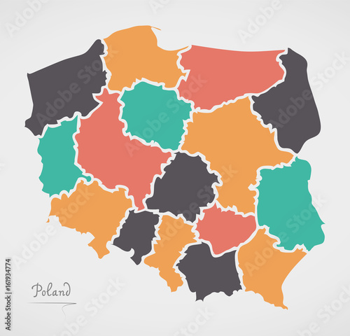 Fotomural  Poland Map with states and modern round shapes