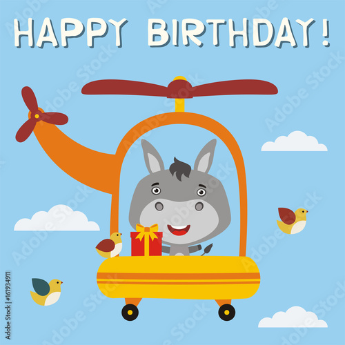 Happy birthday funny donkey with birthday gift flying on helicopter happy birthday funny donkey with birthday gift flying on helicopter birthday card with little negle Image collections