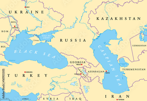 Map Of Europe With Bodies Of Water.Black Sea And Caspian Sea Region Political Map With Capitals