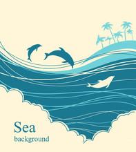 Dolphins In Blue Sea Wave.Seascape Illustration Horizon
