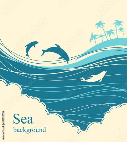 Fotografia, Obraz Dolphins in blue sea wave.Seascape illustration horizon