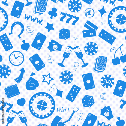Seamless pattern on the theme of gambling and money, a blue silhouettes of icons плакат