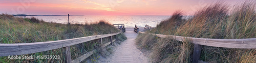 Canvas Prints Light pink Strandpanorama Sonnenuntergang
