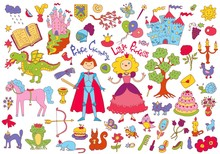 Colorful Doodle Set With Princ...