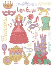 Colorful Hand Drawn Set With Princess And Royal Accessories