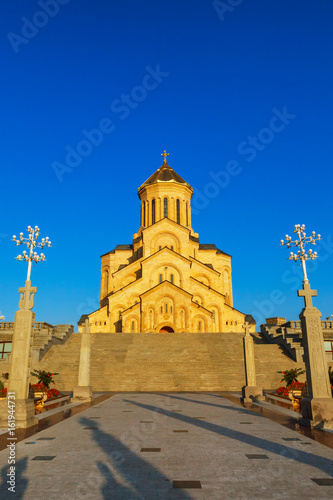 Garden Poster Old building Tbilisi, Georgia - 8 October 2016: Main view Tbilisi Sameba Cathedral (Holy Trinity) biggest Orthodox Cathedral in Caucasus