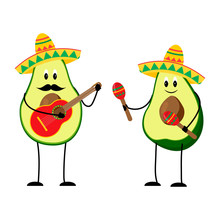 Funny Avocado Illustration Wit...