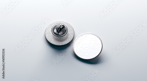 Blank White Round Silver Lapel Badge Mockup Front And Back Side View 3d Rendering