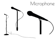Microphone Silhouette On White...