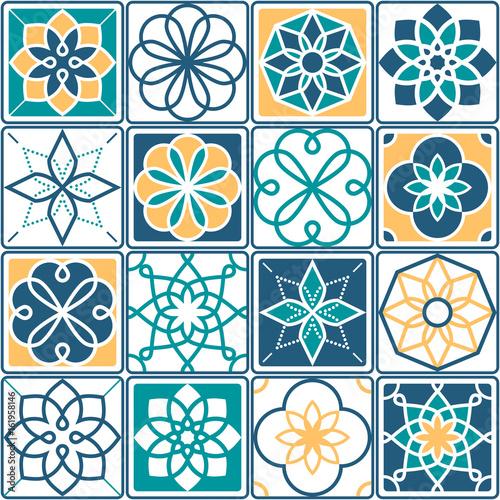 wzor-portugalskich-plytek-azulejo-kolekcja-geometrycznych-wzorow-w-kolorze-zoltym-i-turkusowym