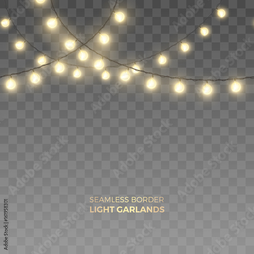 Vector seamless horizontal border of realistic light garlands. Festive decoration with shiny Christmas lights. Glowing bulbs isolated on the transparent background. Fototapete