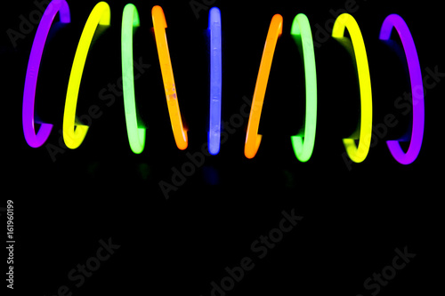 Photo Bracelets made with glow sticks fluorescent lights