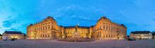 Panoramic View Of Illuminated Wurzburg Residence Palace From Residenzplatz Square In The Evening, Wurzburg, Germany