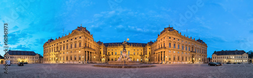 Panoramic view of illuminated Wurzburg Residence palace from Residenzplatz squar Canvas Print