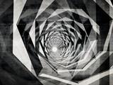 Fototapeta Perspektywa 3d - Dark hypnotic tunnel with concrete texture