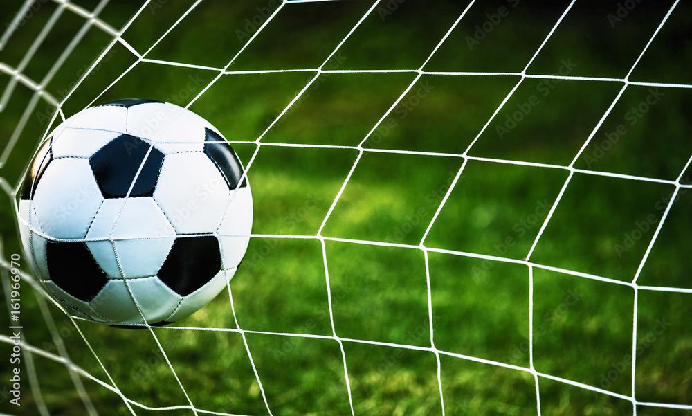 Fototapety, obrazy: Soccer ball in goal