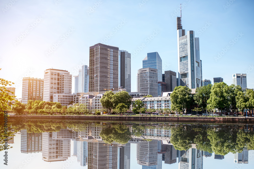 Fototapeta View on the financial district with Main river in Frankfurt city, Germany