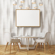 White textured wall dining room, white chairs