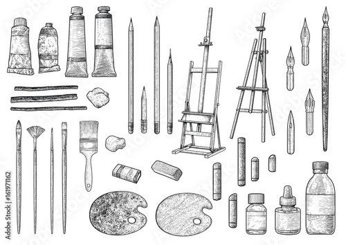 Photo  Artist tool collection illustration, drawing, engraving, ink, line art, vector
