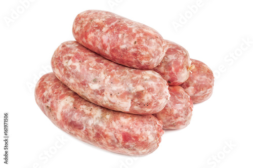 raw italian sausage on white