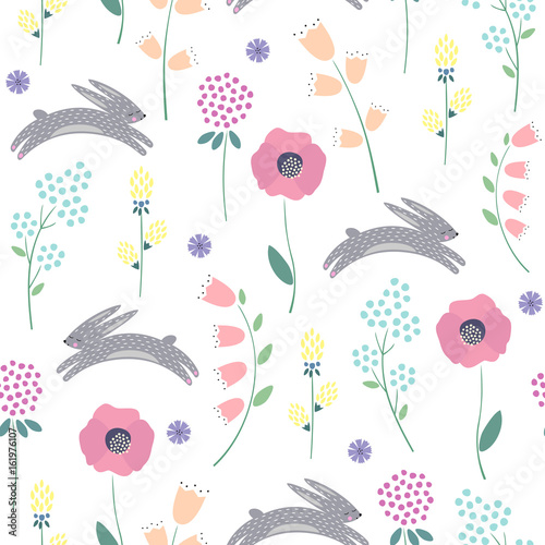 Cotton fabric Easter bunny with spring flowers seamless pattern on white background. Cute childlike style holiday background. Cartoon baby rabbit illustration. Easter design for textile, fabric, decor.