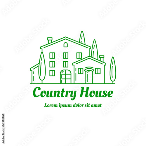 Poster Blanc Country house icon design. ?ountryside villa logo template. Line art illustration. EPS 10 vector. Isolated on white.