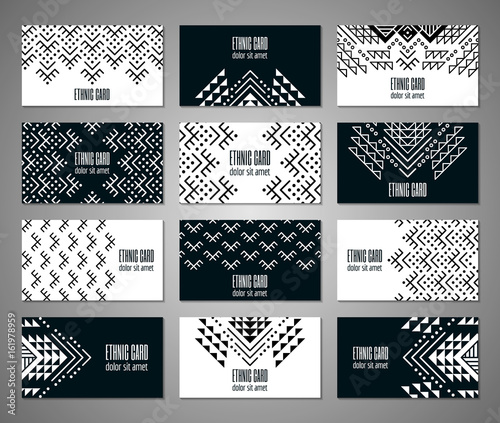 Fotomural Aztec style black and white business card set