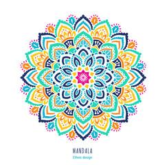 Indian colorful; mandala ornamentation design. Asian traditional mehandi style decor. EPS 10 vector illustration isolated on the white background.