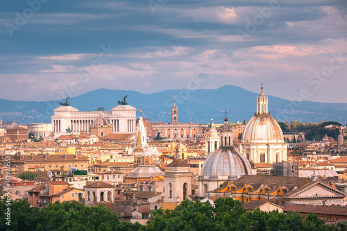 Panoramic aerial wonderful view of Rome with Altar of the Fatherland and churche Canvas Print