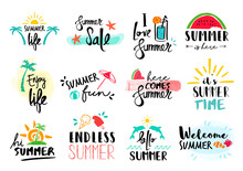 Summer Quote Set Typography Ha...