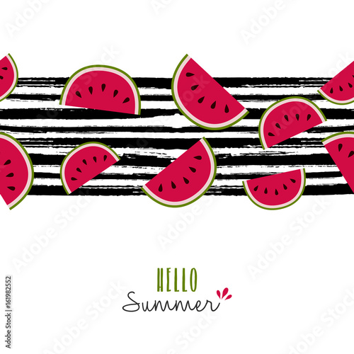 Fotografie, Tablou  Summer quote watermelon pattern design card