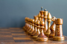 Vintage Wooden Chess Pieces On...