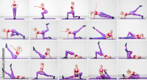Fotografia  Collage of young woman doing different exercises on light wall background