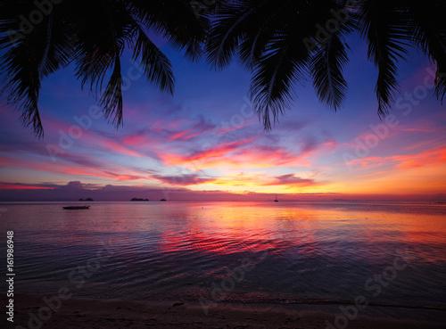 Fotobehang Zee zonsondergang Tropical sunset beach with palm tree. Thailand, Samui island