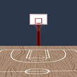 Wooden basketball field