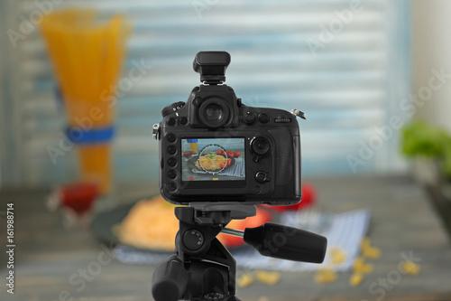 Fototapeta Photo of food on camera display while shooting obraz na płótnie