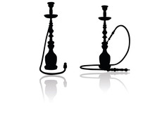 Shisha Silhouette On White Bac...