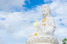 Giant White Statue Of Guan Yin In Wat Huai Pla Kung Temple, Chiang Rai, Thailand.