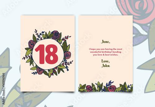 Rose Wreath Birthday Card Layout Acheter Ce Template Libre De