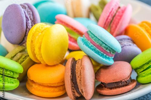 Foto auf Leinwand Macarons Colourful and sweet Macaroon or macaron.