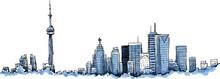 A Cartoon Of The Skyline Of The City Of Toronto, Ontario, Canada.