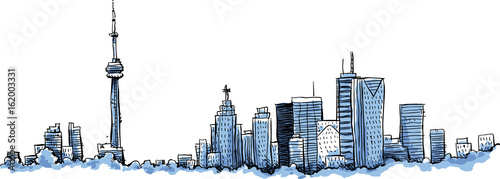 Photo  A cartoon of the skyline of the city of Toronto, Ontario, Canada.