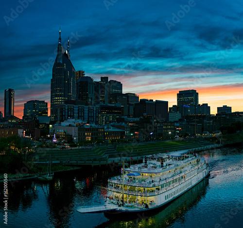 Photo  Nashville Skyline with General Jackson Riverboat