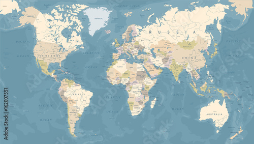Foto op Canvas Wereldkaart Vintage World Map - Vector Illustration